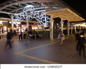 OMIYA, SAITAMA / JAPAN – DECEMBER 7, 2018: The illuminated concourse in front of Saitama-Shintoshin Station in Omiya, Saitama, Japan in December, 2018.