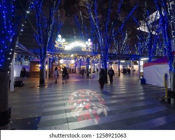 OMIYA, SAITAMA / JAPAN – DECEMBER 7, 2018: The entrance for the Fantastic Carnival of Keyaki Hiroba illumination 2018 at Saitama-Shintoshin in Omiya, Saitama, Japan in December, 2018.
