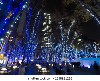 OMIYA, SAITAMA / JAPAN – DECEMBER 7, 2018: The view of Keyaki Hiroba illumination 2018 at Saitama-Shintoshin in Omiya, Saitama, Japan in December, 2018.