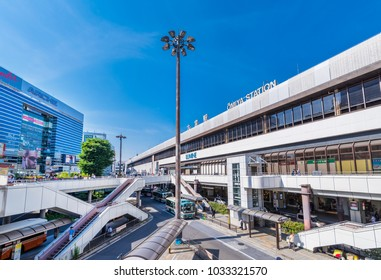 OMIYA, SAITAMA / JAPAN - MAY 21 2017 : Scenery in front of Omiya station in Saitama prefecture, Japan. The pedestrian deck and the bus terminal are in place and crowded with people.