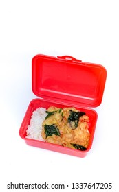 ommelete eggs with rice in red lunch box