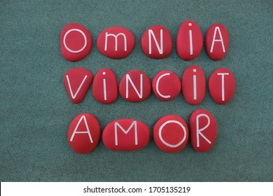 Omnia Vincit Amor, Love conquers all, latin famous, Virgil, text composed with red colored stone letters over green sand