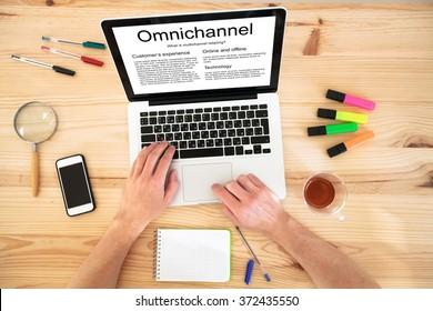 Omnichannel concept, multichannel retailing technology