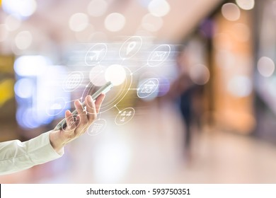 Omnichannel marketing on mobile smartphone app for online store mall or supermarket shopping shopper people lifestyle, Black Friday and Cyber Monday concept