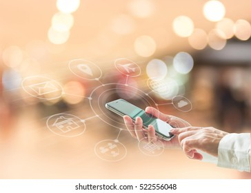 Omni-channel marketing via cloud computing network on mobile smartphone app for digital shopping lifestyle people for Black Friday and Cyber Monday online shopping on e-commerce marketplace concept