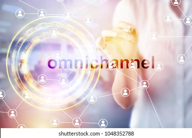 Omnichannel retail concept. Customer network connection, m-banking