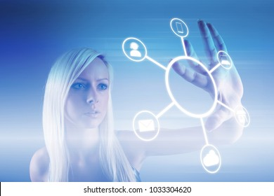 Omnichannel retail concept. Woman using mobile payments online shopping and customer network connection, m-banking