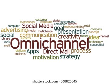 Omnichannel, word cloud concept on white background.