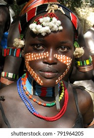 Omo Valley / Ethiopia January 24 2011 Hamer Tribe Bride on Wedding Ceremony