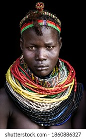 Omo Valley, Ethiopia- March 15 2019: Woman from the Arbore tribe using traditional colorful necklaces, Omo Valley, ethiopia.