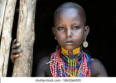 Omo Valley, Ethiopia- March 19 2019: Portrait of a young boy from the Arbore tribe, Omo valley, Ethiopia.