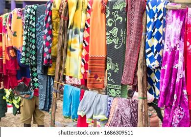 Omo/Ethiopia-January 14 2020 Year: Ethiopian fabric on the street market in Omo Valley