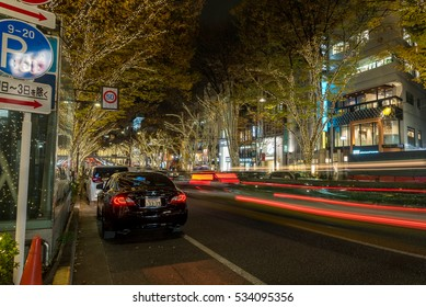 OMOTESANDO - TOKYO - JAPAN - 7 DEC 2016 : Winter / Christmas / New Yer Illumination on the tree in Omote Sand Road. This road is one of the most luxurious shopping street in Tokyo