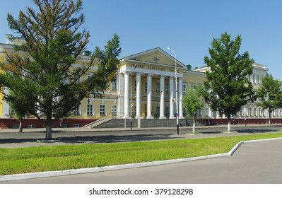 Omsk, Russia - August 23, 2009: view  building of cadet corps on Leini street,    on facade inscription in russian 'Omsk Cadet Corps'
