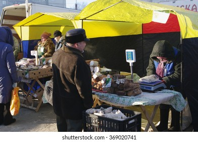 Omsk, Russia - December 20, 2014: retail of farm meat products on outdoor market