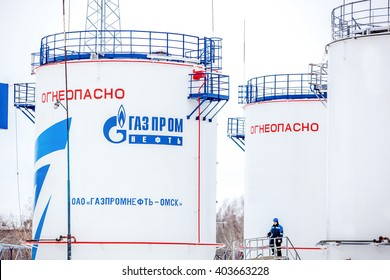 Omsk, Russia - December 6, 2011: Gazprom, gas station, white tank