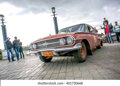 Omsk, Russia - June 11, 2013: stage of Rally Peking-Paris by retro cars in Siberia, Chevrolet Impala