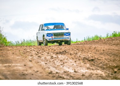 Omsk, Russia - June 22, 2014: Russian soviet rally car ready-to-go