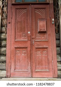 OMSK, RUSSIA - JUNE 7, 2018: Traditional Siberian wooden door in the downtown.