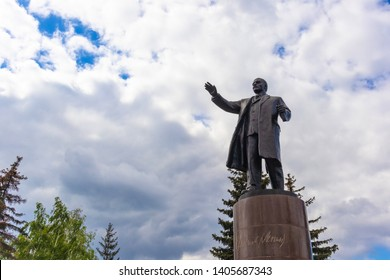 Omsk, Russia - May 23, 2019. Monument V.I. Lenin in the city of Omsk, on the square near the railway station.