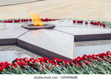 OMSK, RUSSIA - MAY 8, 2019: Eternal Flame at Victory Park