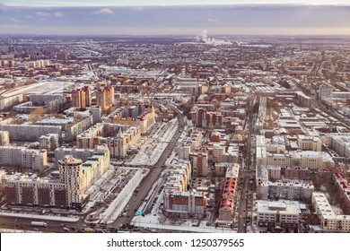 Omsk, Russia - November 12, 2018 - Aerial view of city centre in winter