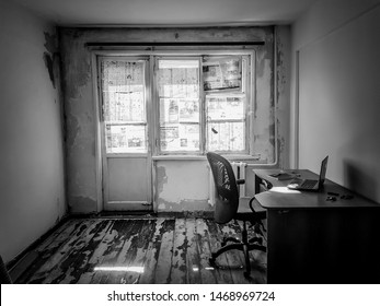 Omsk, Russia - September, 26, 2018: ruined office, economic crisis, repair in the room