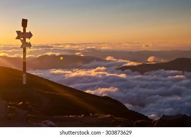 Omu peak and sunset,Bucegi mountains,Carpathians,Romania