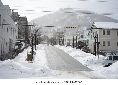 on 12 February 2018, The road on hill at Motomachi where is a well-known tourist site to see beautiful scenery in Hakodate, Hokkaido, Japan