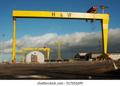 On 16 November 2016 the massive Harland and Wolff cranes David and Goliath stand idle. They were built in the 60's decade but never were used to there full potential because of foreign competition.