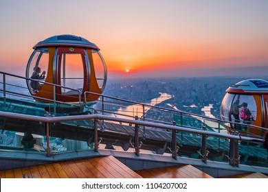 On 26 March 2018, Bubble tram on the top of Canton tower at Guangzhou China, The highest outdoor observation deck