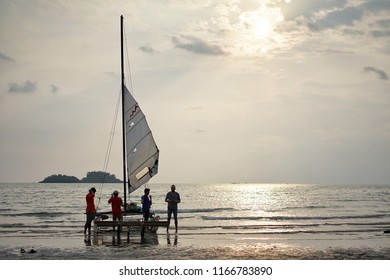 On 6 April 2018, the men's group are preparing the sailing boat on the beach at Koh Chang, Trat in Thailand