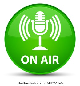 On air (mic icon) isolated on special green round button abstract illustration