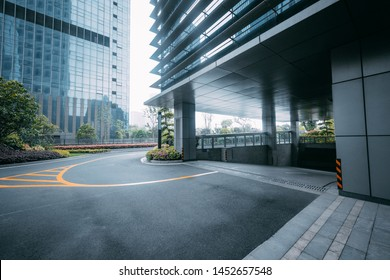 On April 14, 2018, the entrance of parking lot of modern commercial plaza was photographed in Qianjiang New Town High-tech Industrial Park, Hangzhou.