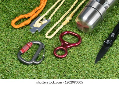 on the background of grass set for climbing and extreme relaxation