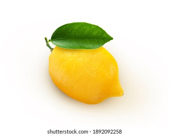 Closeup lemon template on white wall background. Yellow lemon isolated colors on white background. Yummy face of fresh lemon