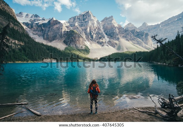 On the banks of the Moraine Lake, Canada