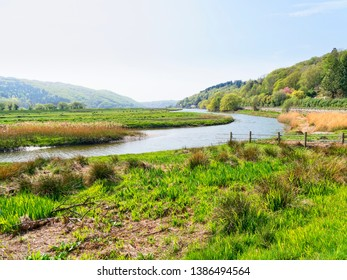 On the banks of the River Dwyryd as it winds through the countryside of Snowdonia National Park.