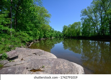 On the banks of the South Branch of the Raritan River in Hillsborough, New Jersey.