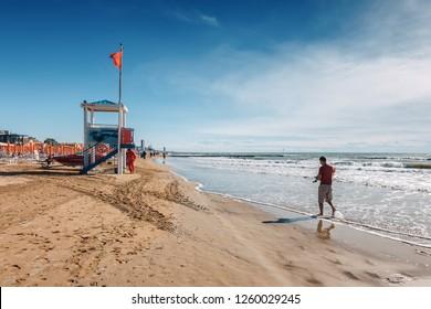 On the beach of Lido di Jesolo near Venice, Veneto region, Italy.