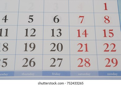 on a beautiful calendar written all the numbers in one quarter