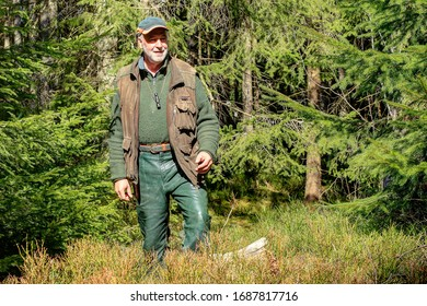 On a beautiful spring morning an old hunter walks through his hunting ground in the Black Forest and enjoys the beautiful spring day with its warming sunrays.
