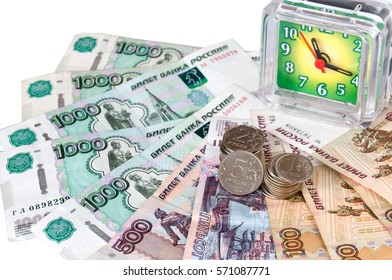 On big money are hours and small coins. Business concept