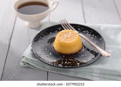 soufflé on a black dish