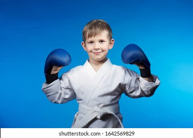 On a blue background in karategi little athlete