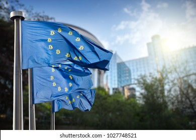 On the blue flag the symbol bitcoin. Regulation of the crypto currency by the European Union