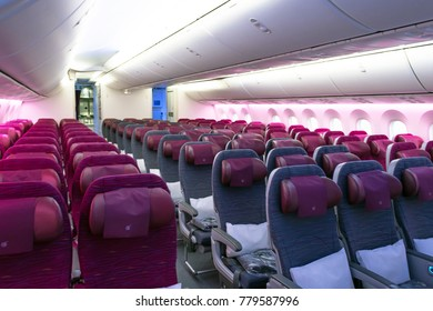 On board Boeing 787 qatar airways airlines, airport Pulkovo, Russia, Saint-Petersburg December 19, 2017