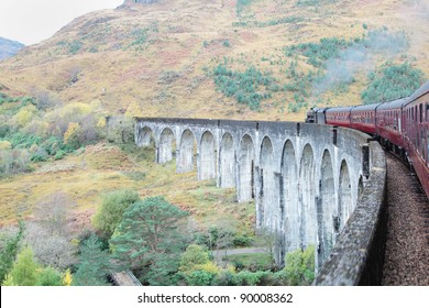 On board a steam train crossing the Glenfinnan Viaduct in Scotland, as featured in the Harry Potter films
