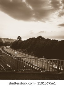 On the Bridge, Footbridge above Motorway in England, Sepia Tone Shallow Depth of Field