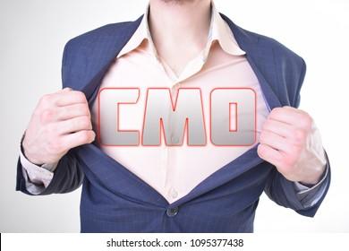 On the businessman's chest is an inscription:CMO
